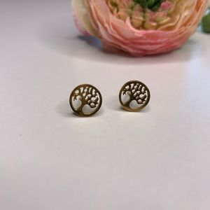 Jewelry - [Tree Of Life] Gold Stud Earrings